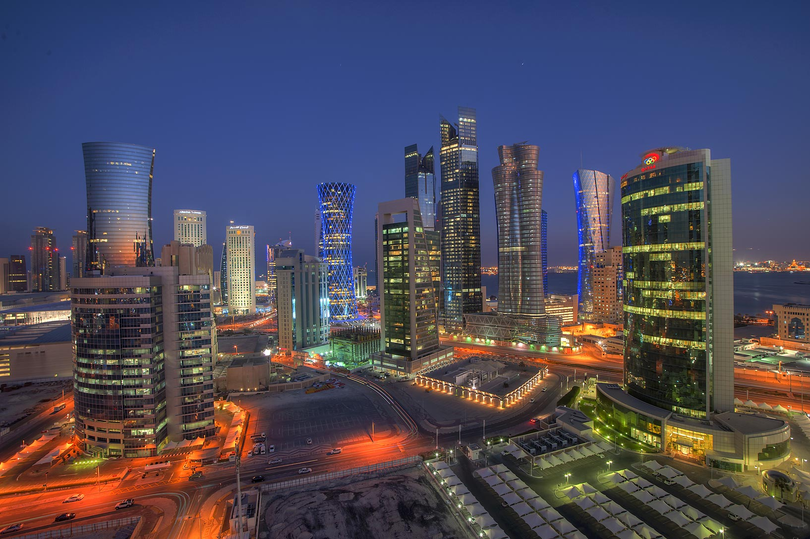 West Bay towers from balcony of Room 1703 of Dareen Tower at evening. Doha, Qatar