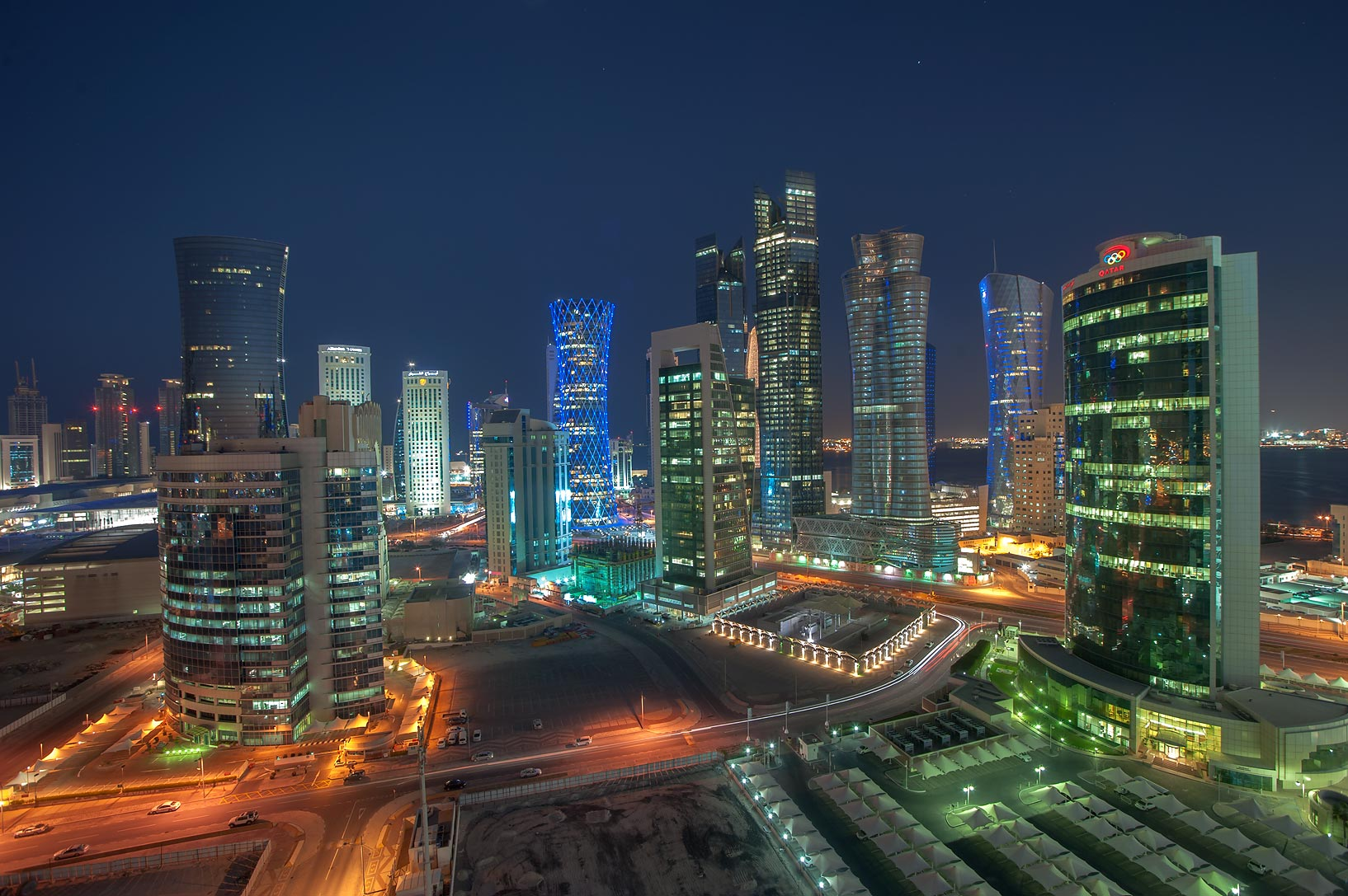 West Bay towers from balcony of Room 1703 of Dareen Tower in dusk. Doha, Qatar