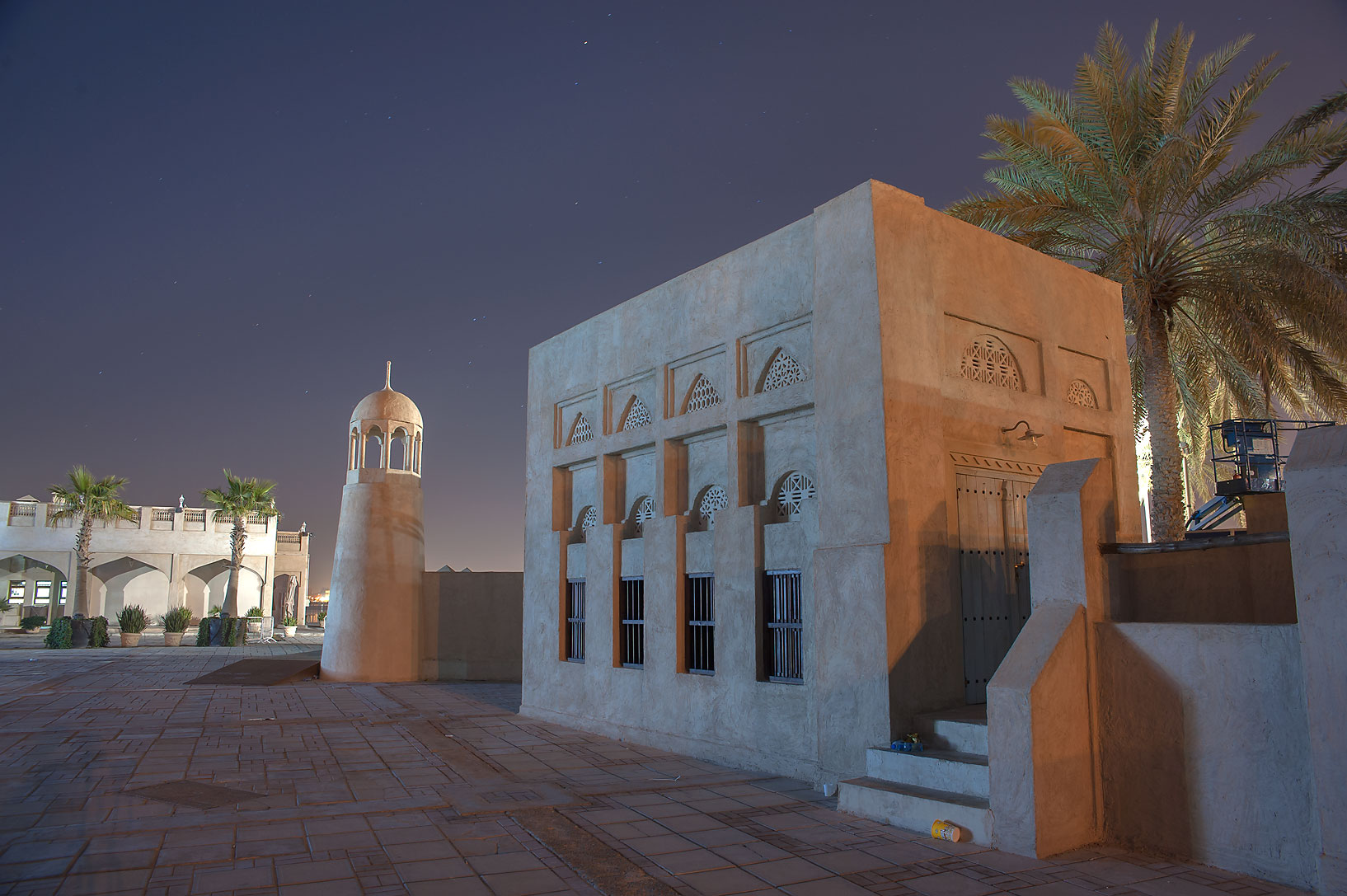 Reconstructed historic village with a mosque bult...near Balhambar Restaurant. Doha, Qatar