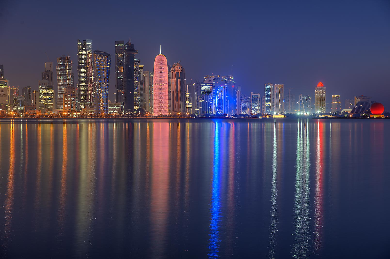 Lights of West Bay from Corniche Promenade at morning. Doha, Qatar