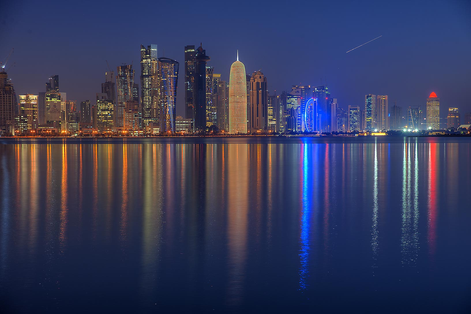 Towers of West Bay from Corniche Promenade. Doha, Qatar