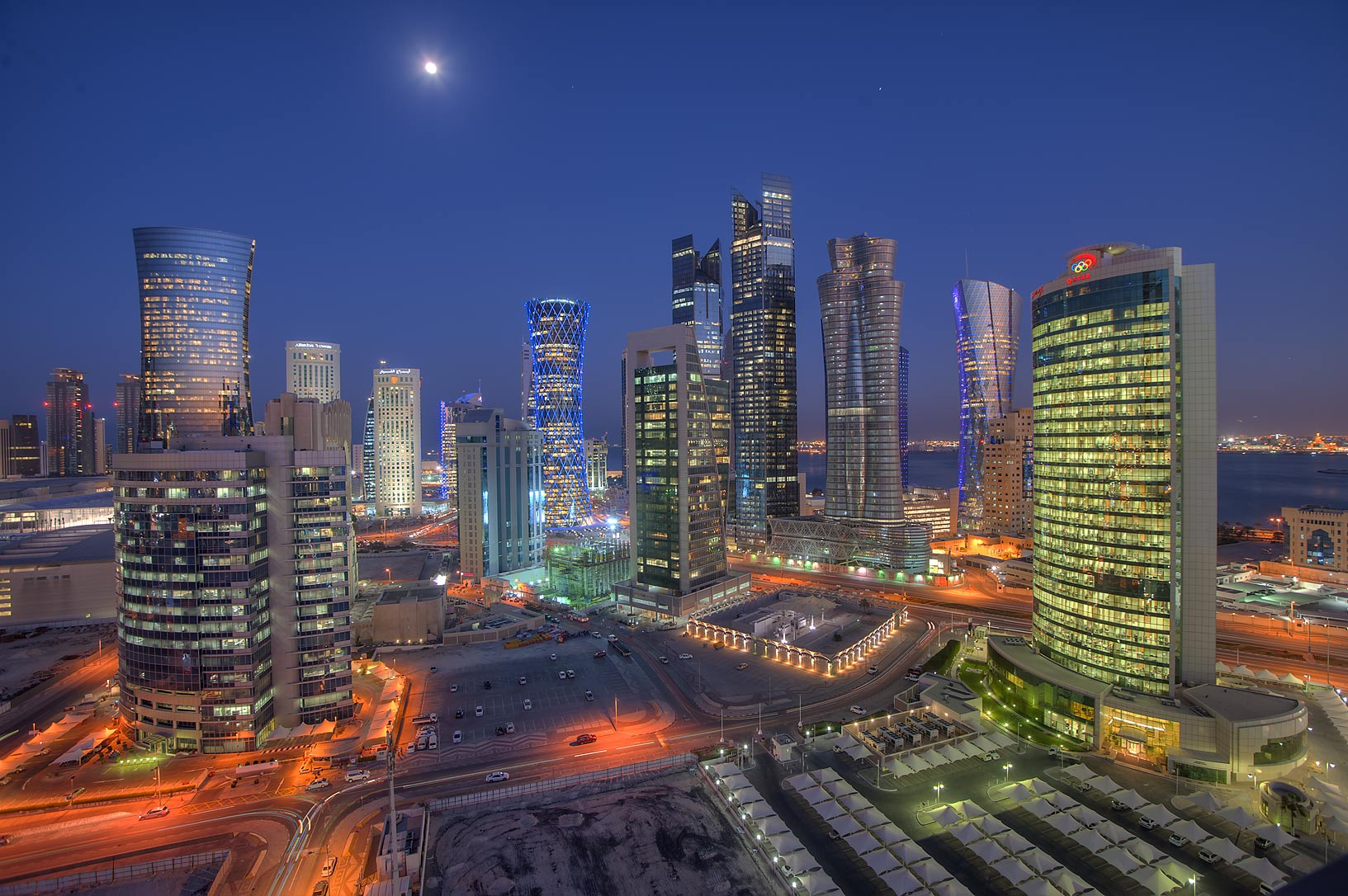 Evening view of West Bay towers from a balcony of Room 1703 of Dareen Tower. Doha, Qatar
