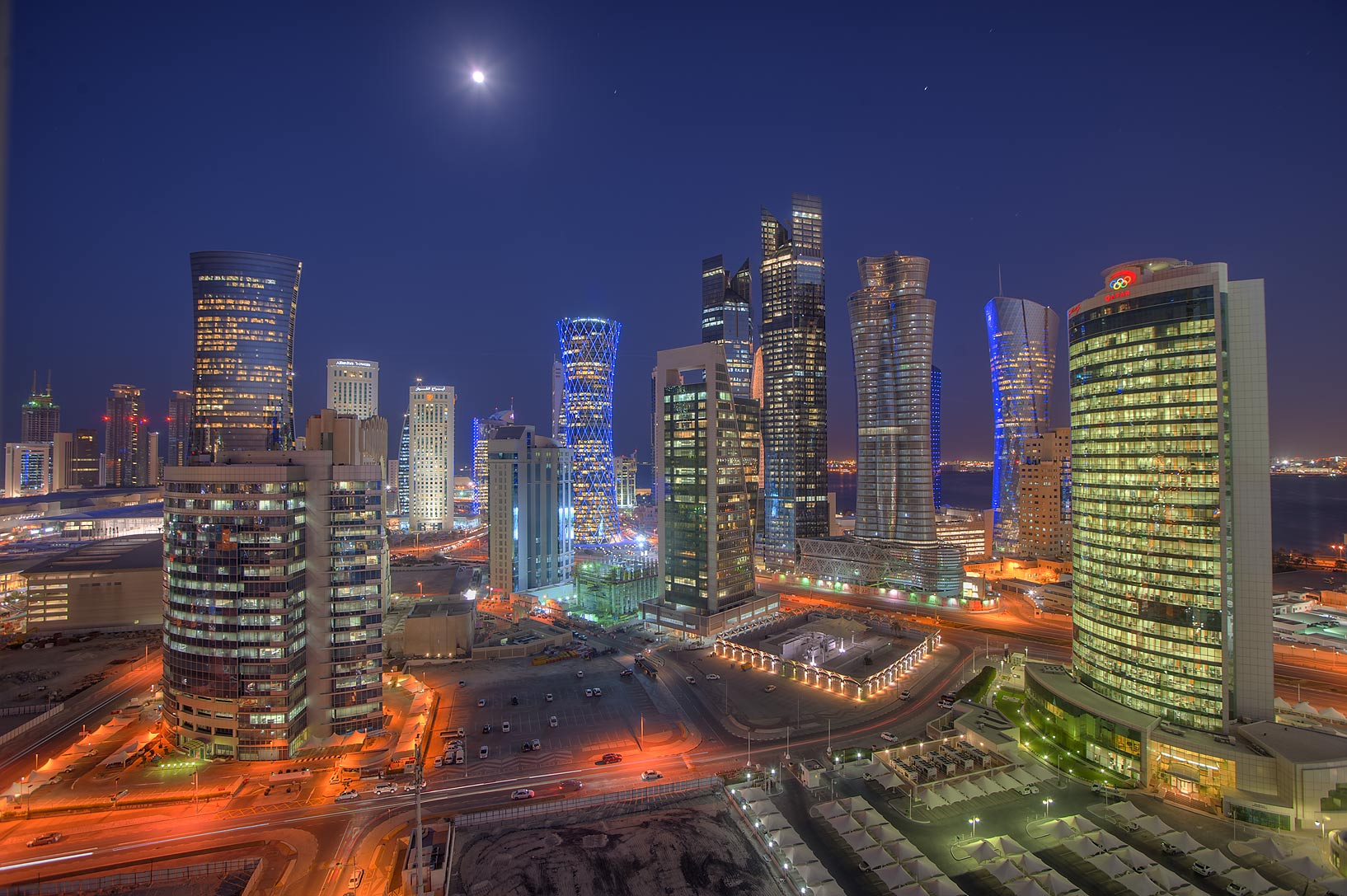 Evening view of West Bay from a balcony of Room 1703 of Dareen Tower. Doha, Qatar