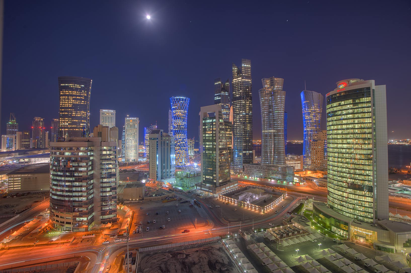 Evening view of West Bay lights from a balcony of Room 1703 of Dareen Tower. Doha, Qatar