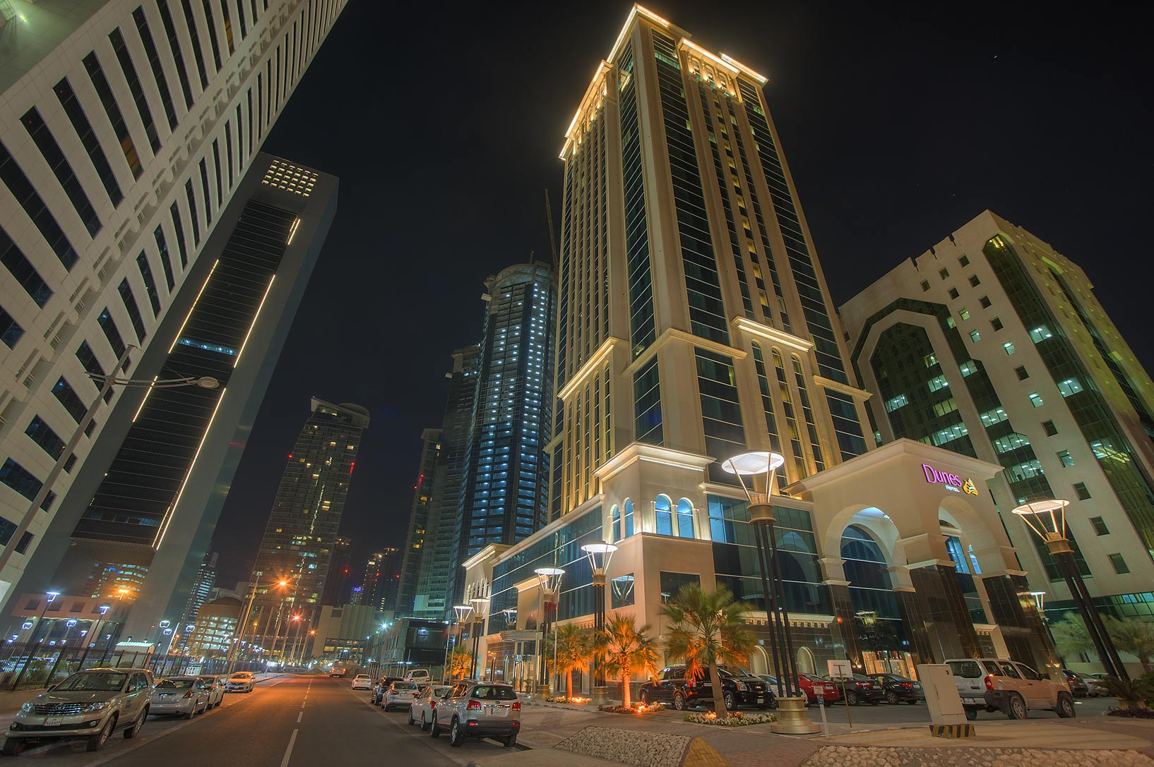 Dune's Hotel in West Bay from Al Shatt St.. Doha, Qatar