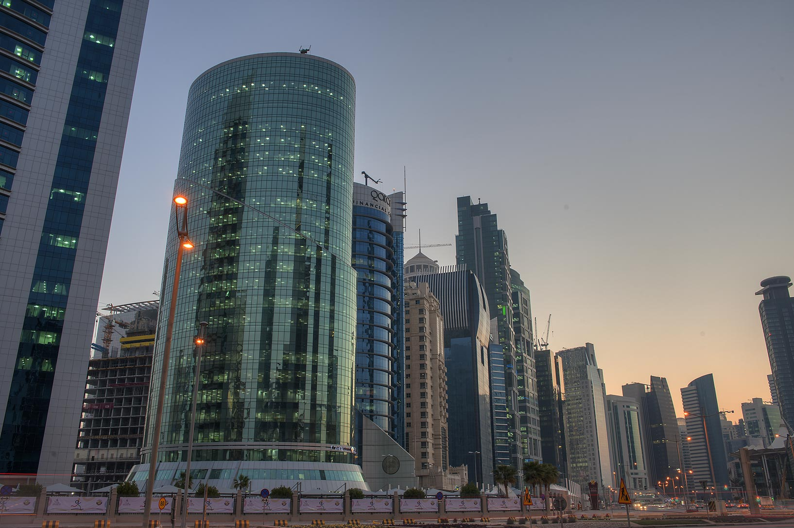 Ministry of Environment in West Bay at morning. Doha, Qatar