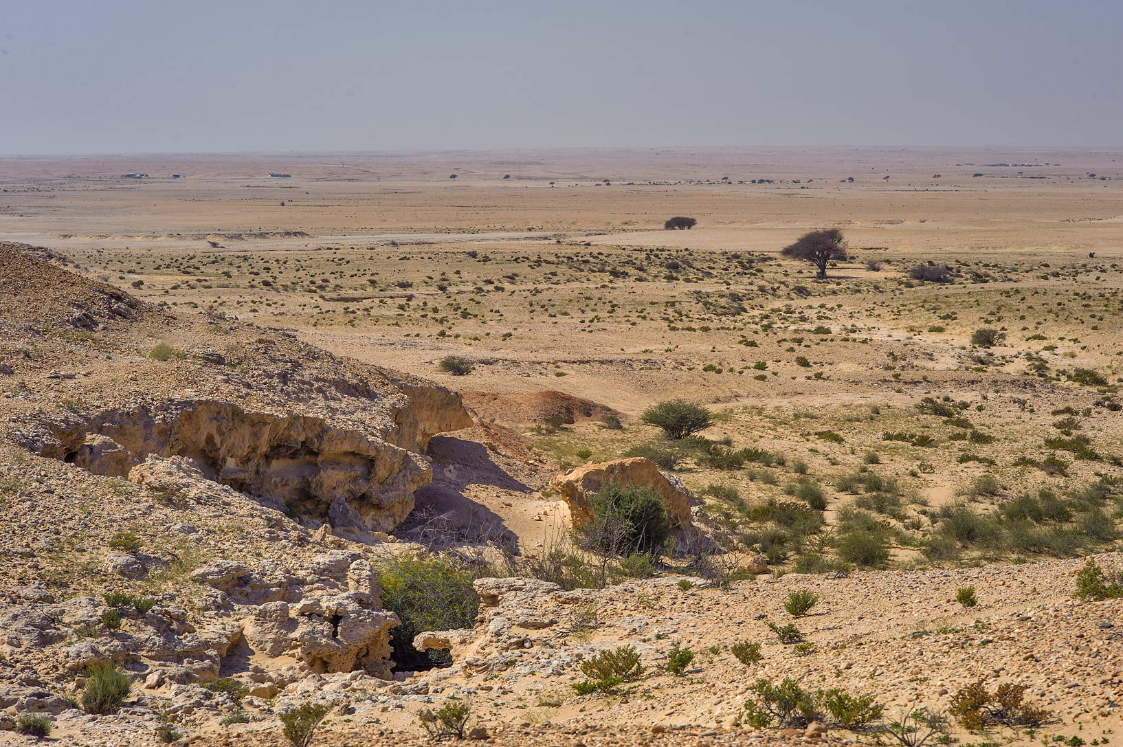 Limestone escarpments near Harrarah in southern Qatar