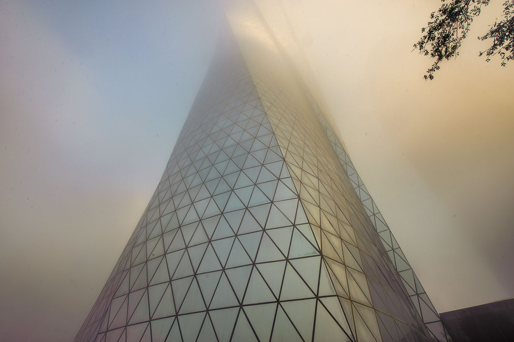 Al Bidda Tower in West Bay in fog. Doha, Qatar