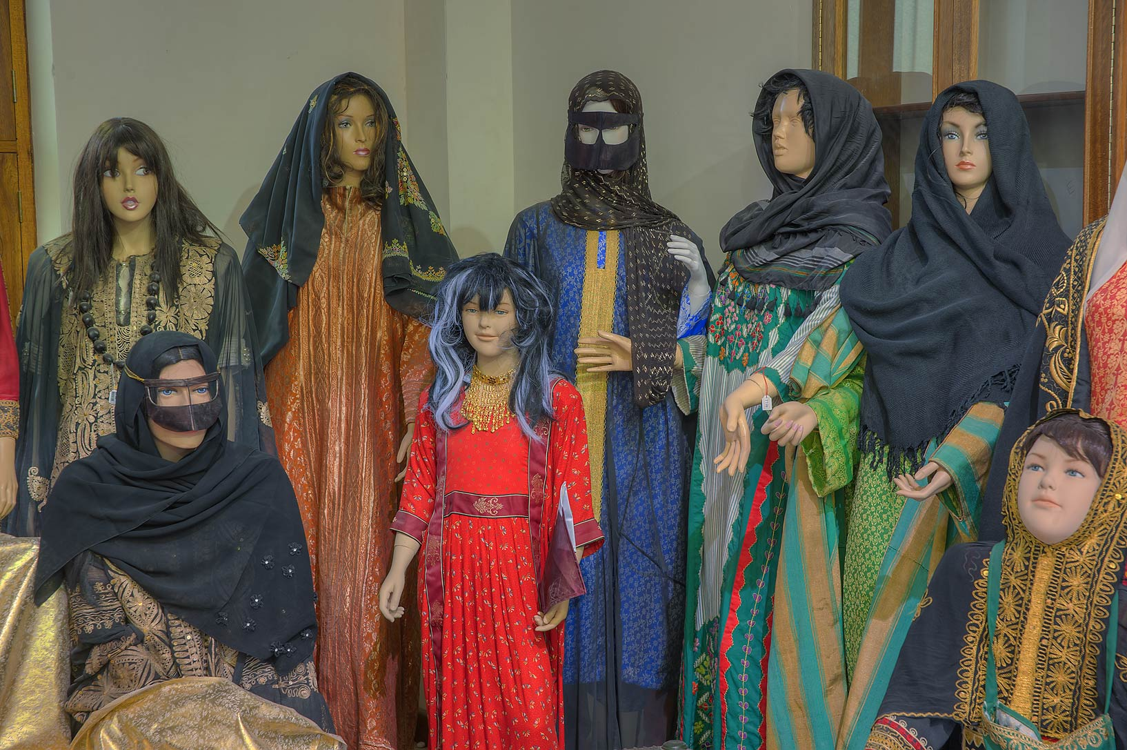 Group of women in traditional dress in Sheikh...Museum near Al-Shahaniya. Doha, Qatar