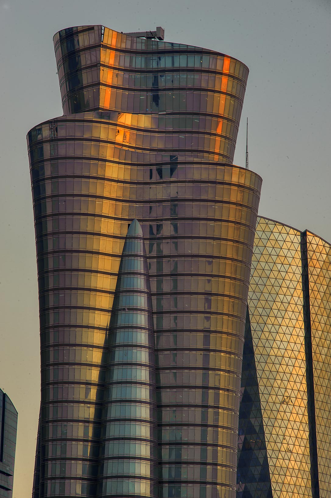 International Islamic Tower in West Bay at sunset. Doha, Qatar