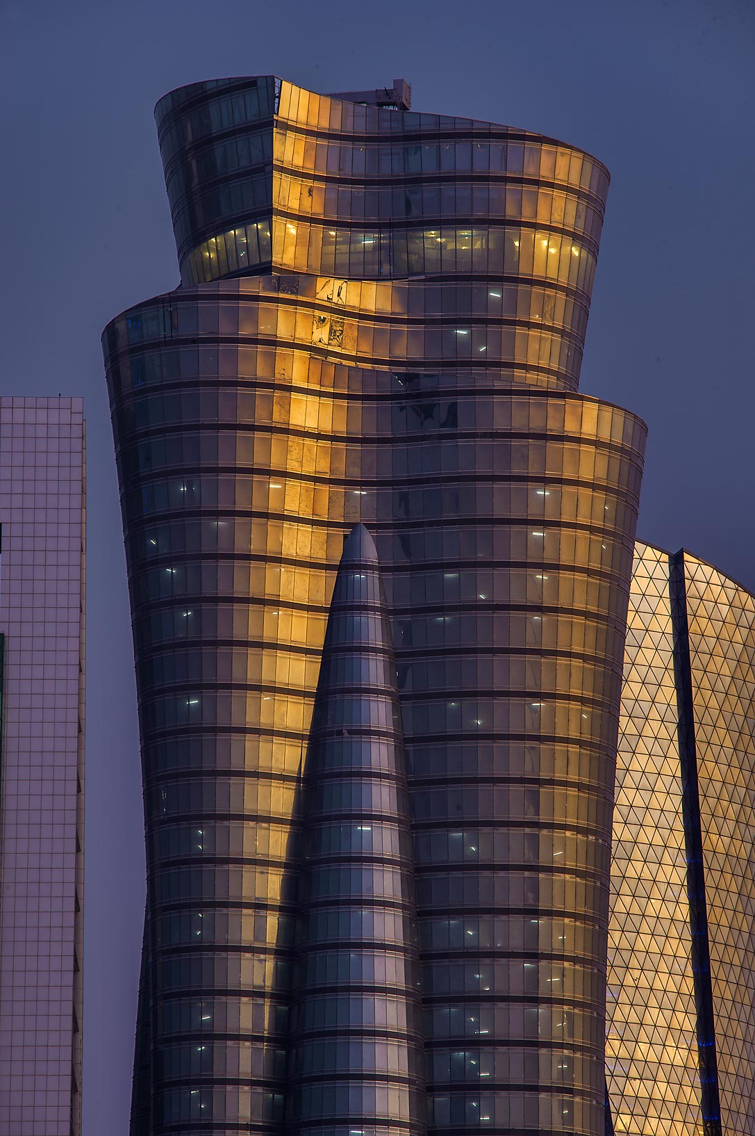 International Islamic Tower in West Bay at evening dusk. Doha, Qatar