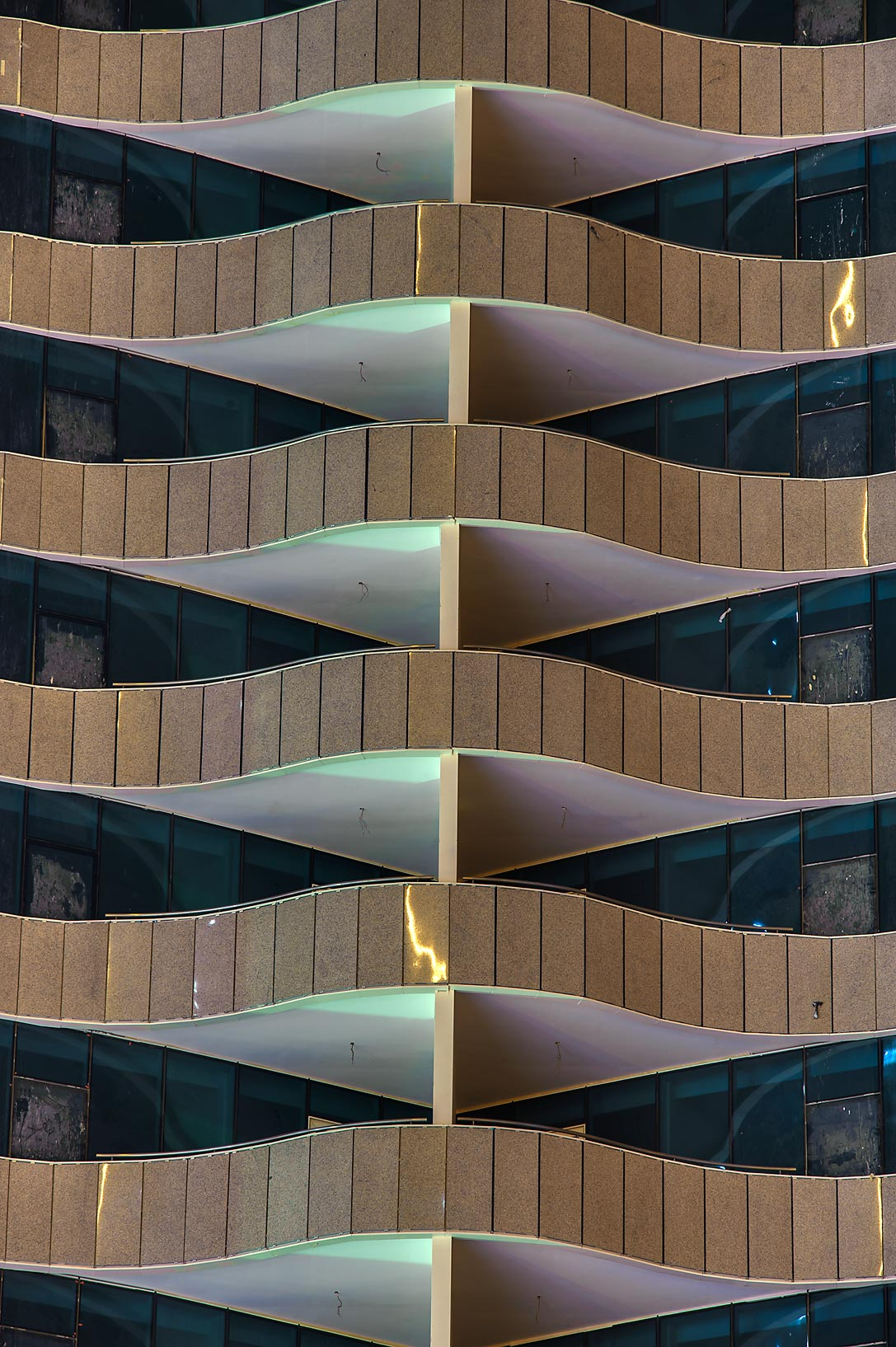 Pattern of balconies in West Bay from Q-Shield head Offices St.. Doha, Qatar