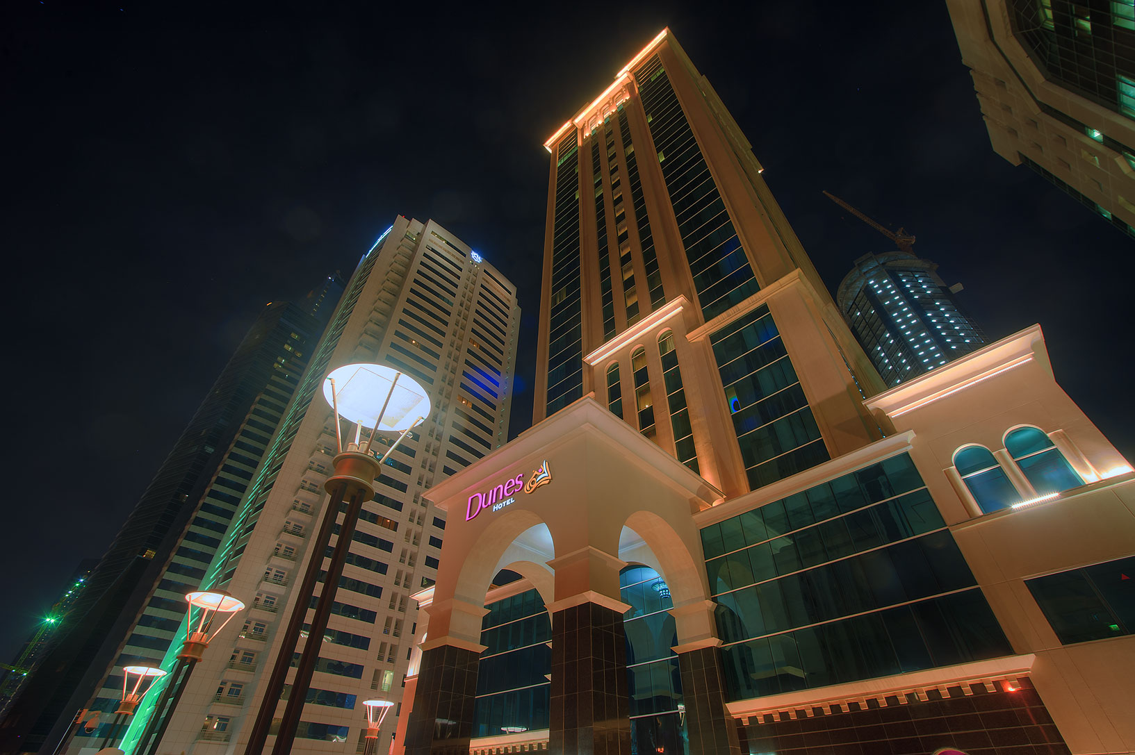 Dunes Hotel in West Bay from Al Shatt St.. Doha, Qatar