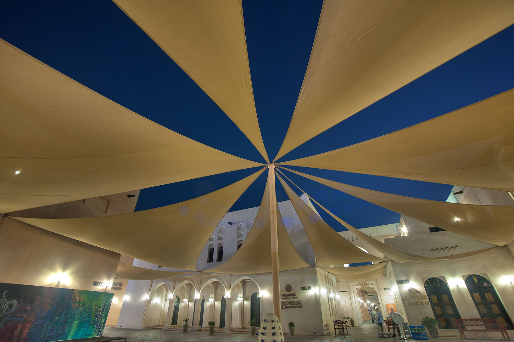 Shade sails in Katara Cultural Village. Doha, Qatar