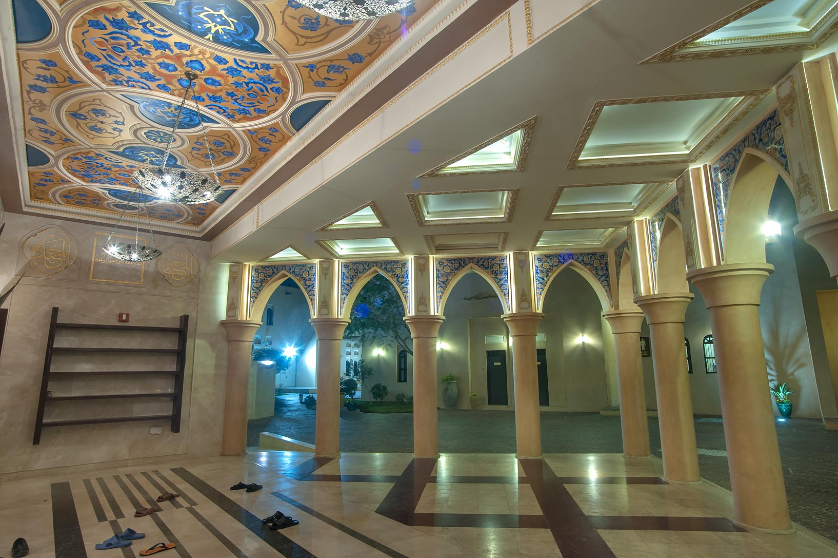 Entrance hall of Iranian style mosque in Katara Cultural Village. Doha, Qatar