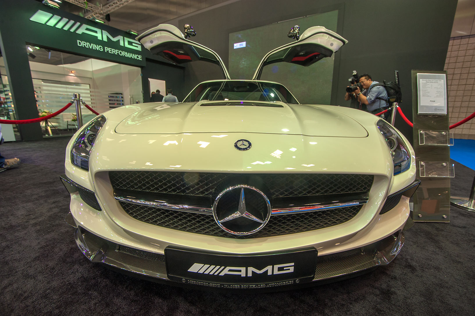 Winged AMG car on motor show in National Convention Centre. Doha, Qatar