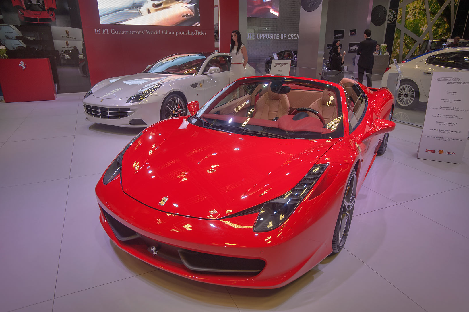 458 Spider car on motor show in National Convention Centre. Doha, Qatar