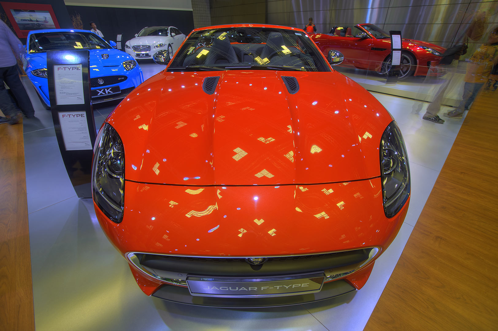 Front view of Jaguar F-Type car on motor show in National Convention Centre. Doha, Qatar