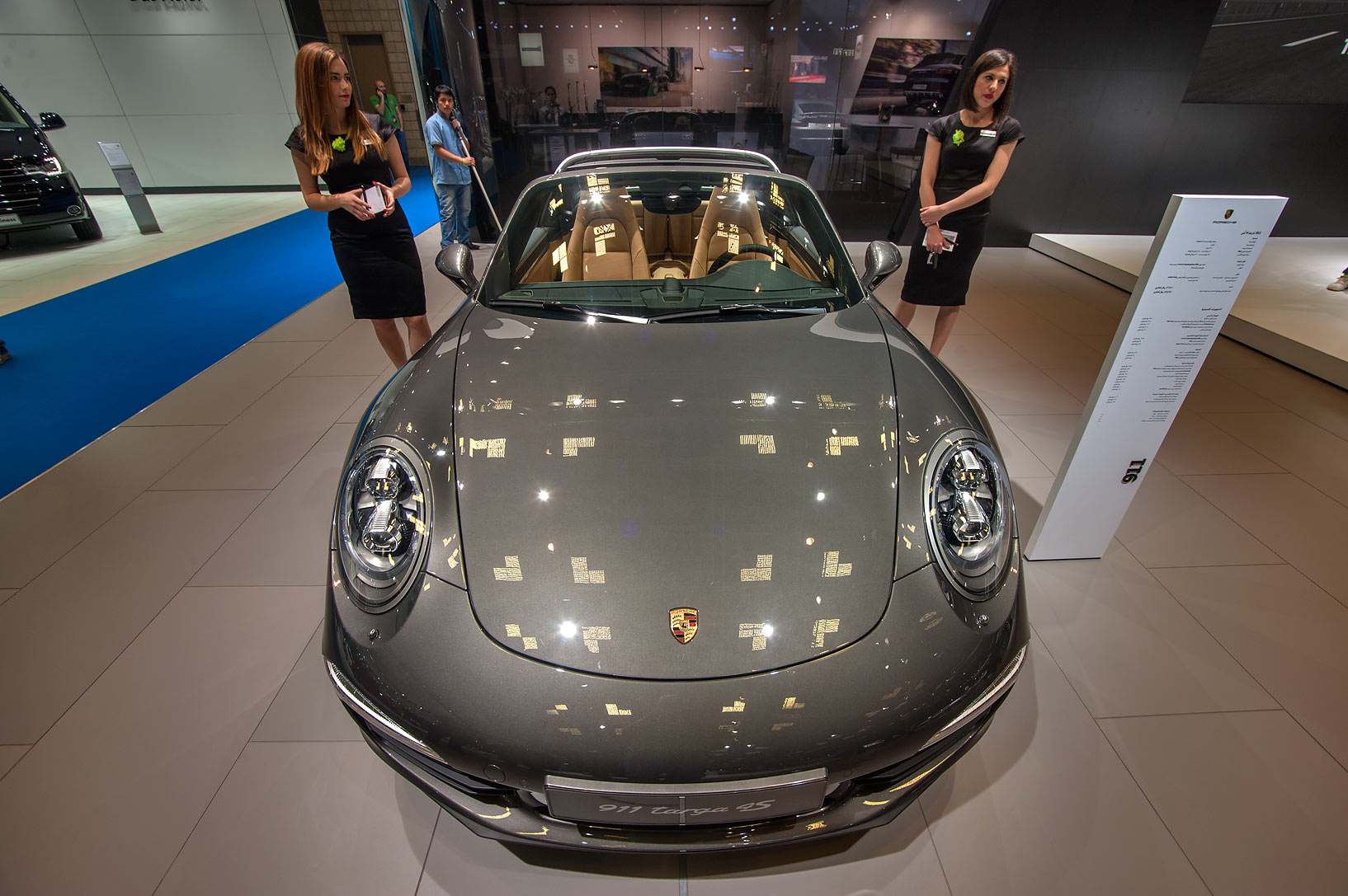 911 Targa car on motor show in National Convention Centre. Doha, Qatar