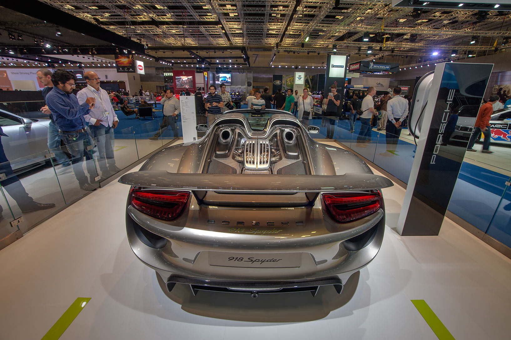 Back view of 918 Spyder Porsche car on motor show...Convention Centre. Doha, Qatar