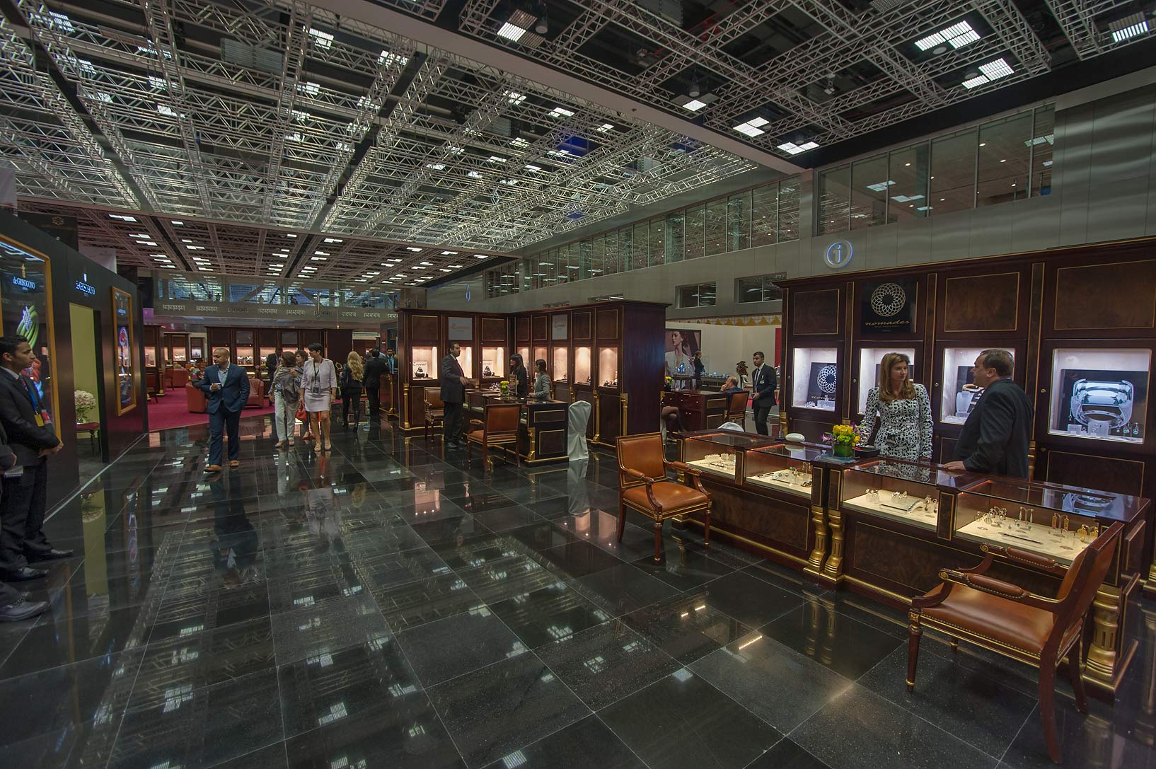 Dark hall of jewelry show in National Convention Centre. Doha, Qatar