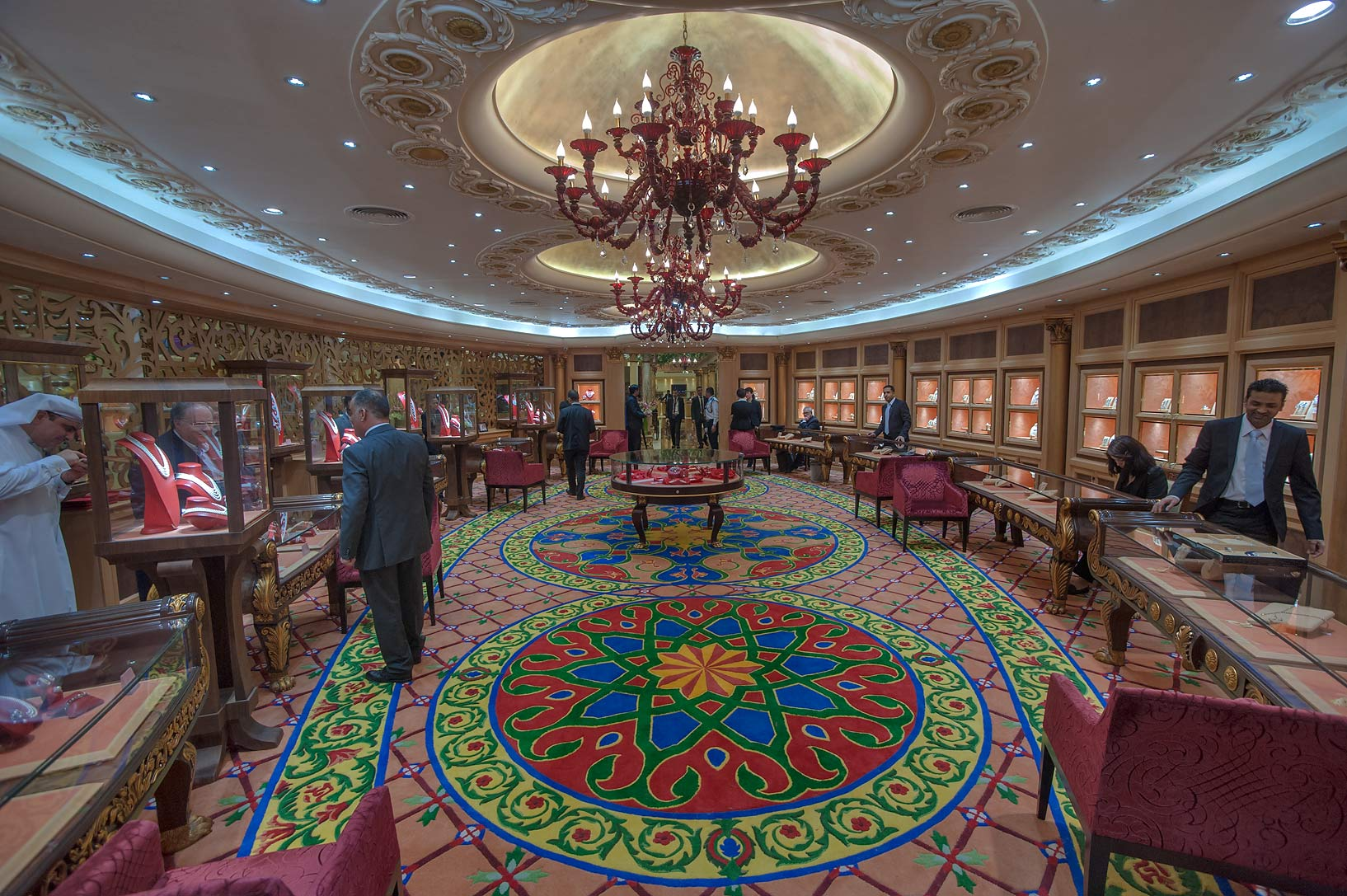 Round hall with a carpet at jewelry show in National Convention Centre. Doha, Qatar