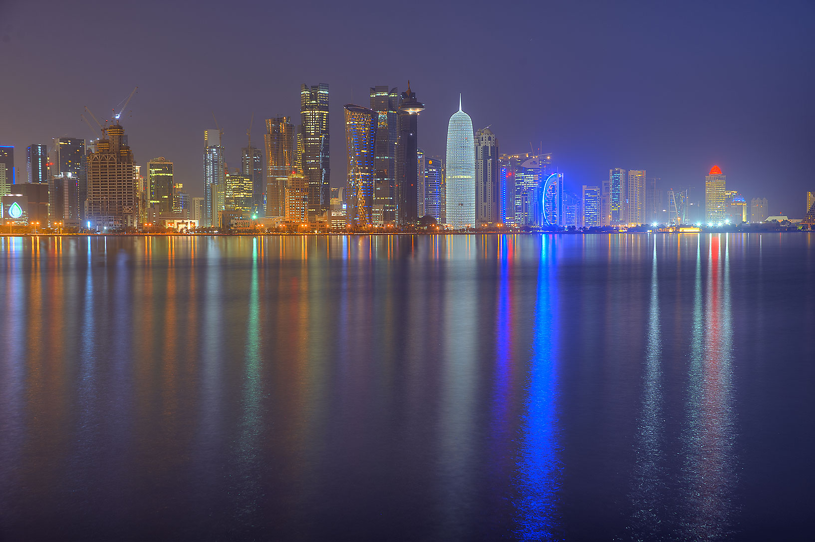 Lights of West Bay from Corniche Promenade. Doha, Qatar