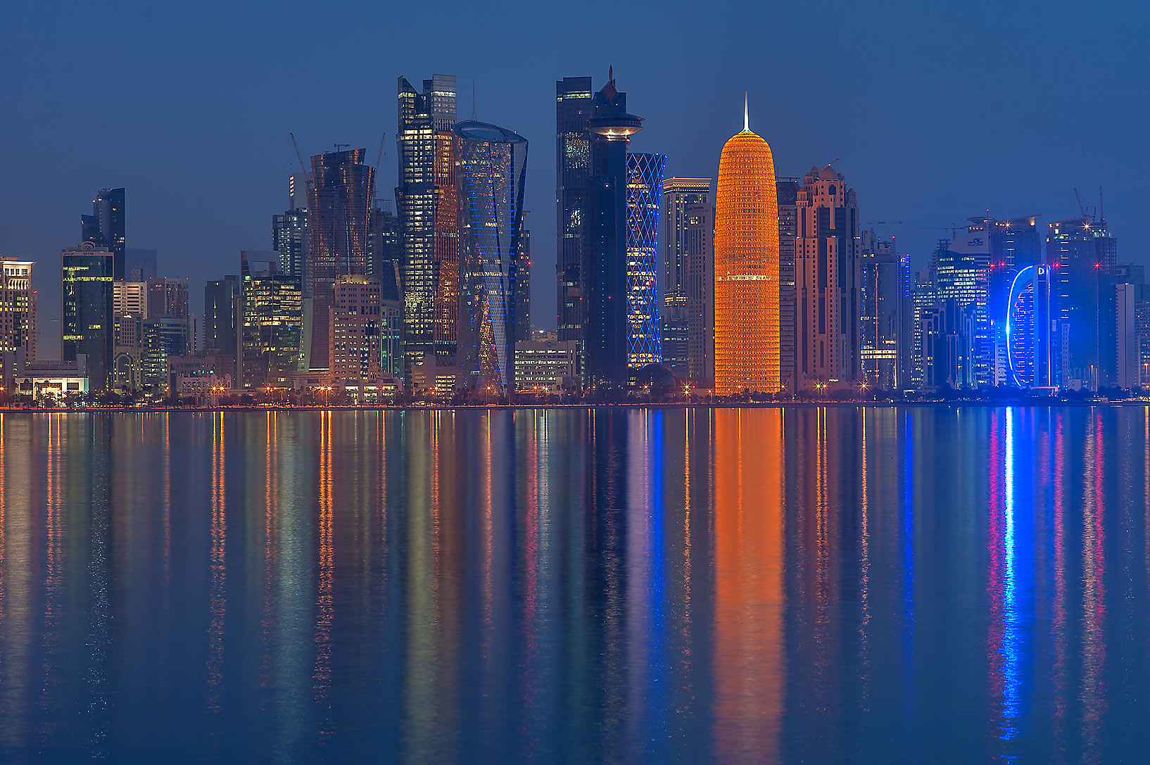 West Bay at morning from Corniche Promenade. Doha, Qatar
