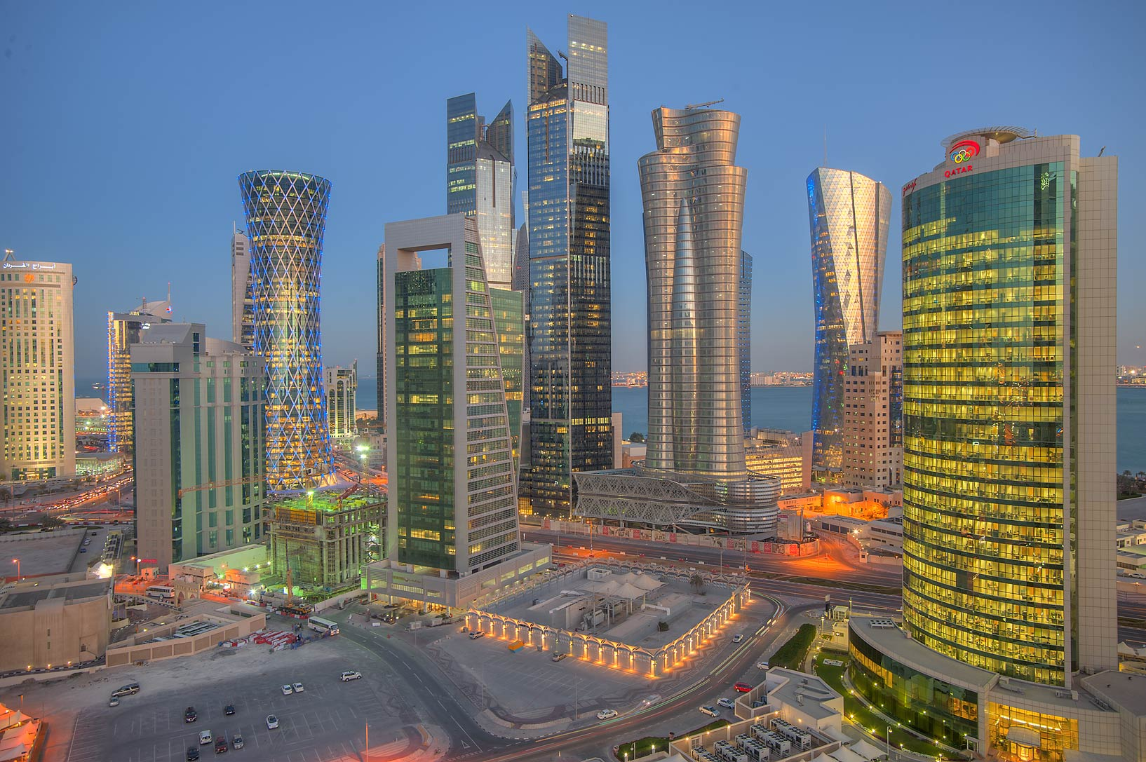 View of West Bay at evening from Room 1703 of Dareen Tower. Doha, Qatar