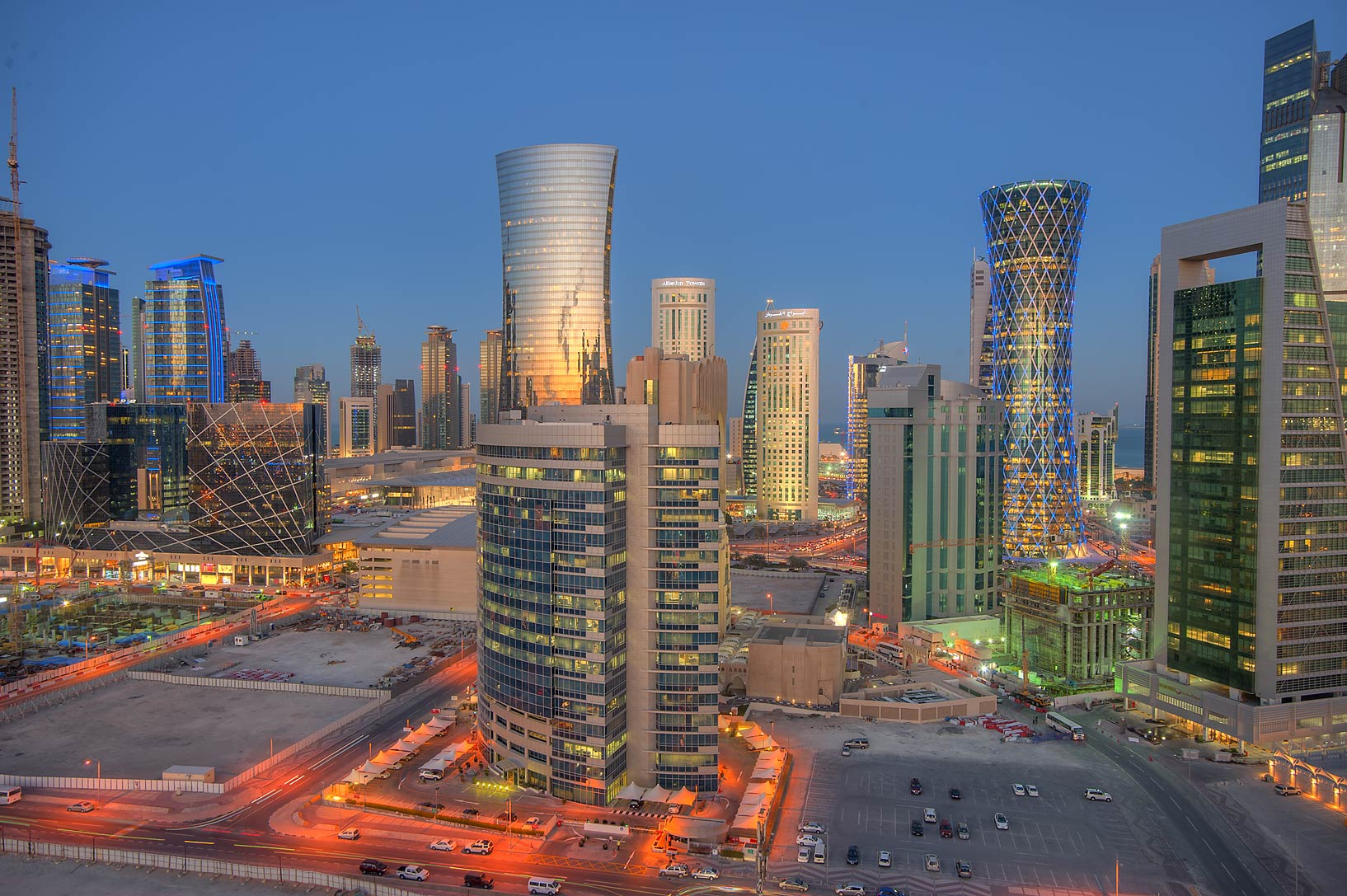 View of West Bay at evening dusk from Room 1703 of Dareen Tower. Doha, Qatar