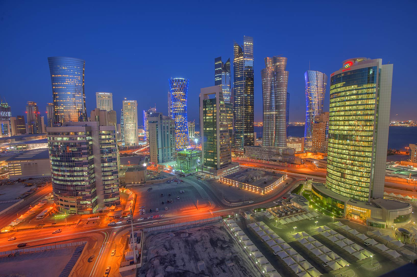 Area of West Bay at evening from Room 1703 of Dareen Tower. Doha, Qatar