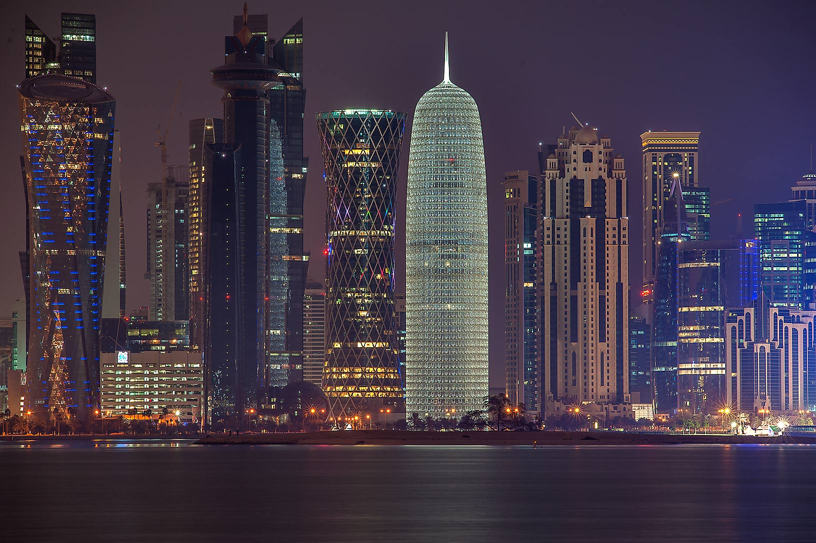 Area of West Bay from Corniche promenade. Doha, Qatar
