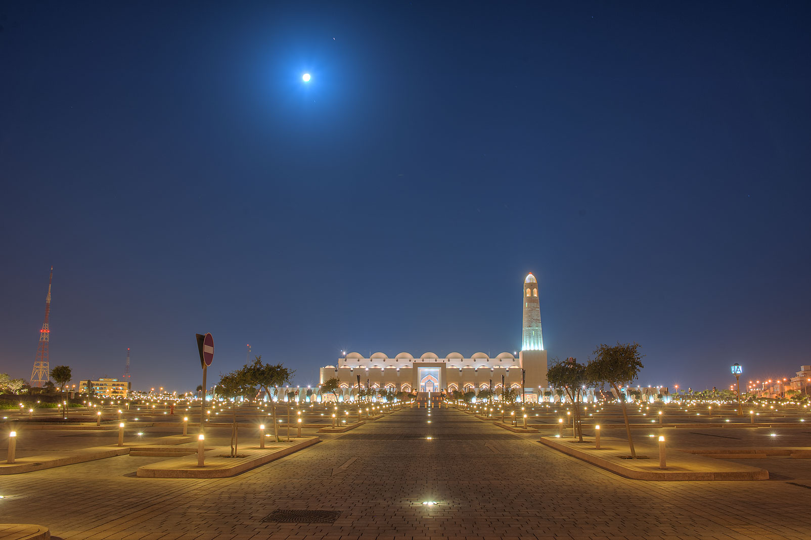 Moon over State Mosque (Sheikh Muhammad Ibn Abdul Wahhab Mosque). Doha, Qatar