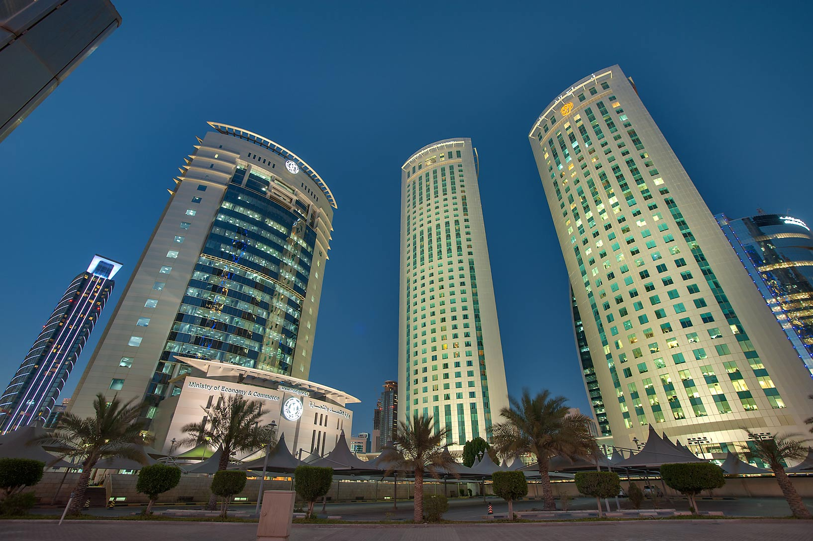 Al Fardan Towers in West Bay from Al Funduq St.. Doha, Qatar