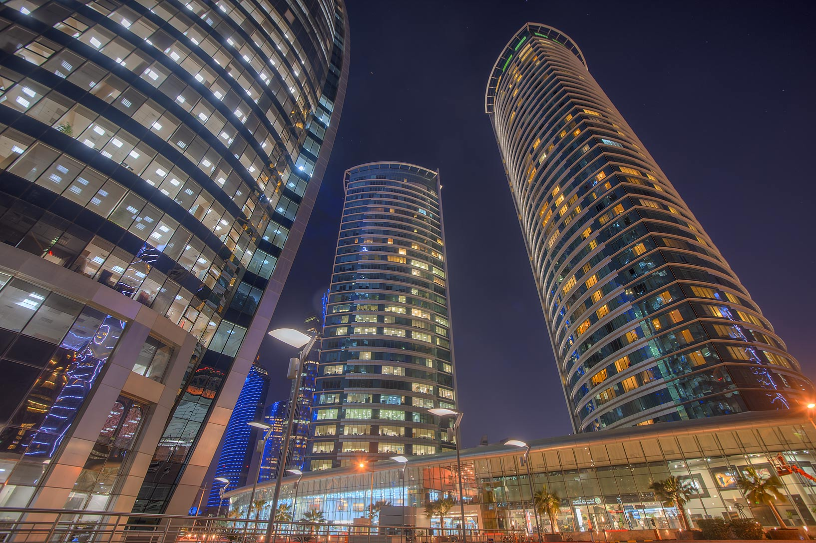 Al Fardan Twin towers in West Bay from Al Funduq St.. Doha, Qatar