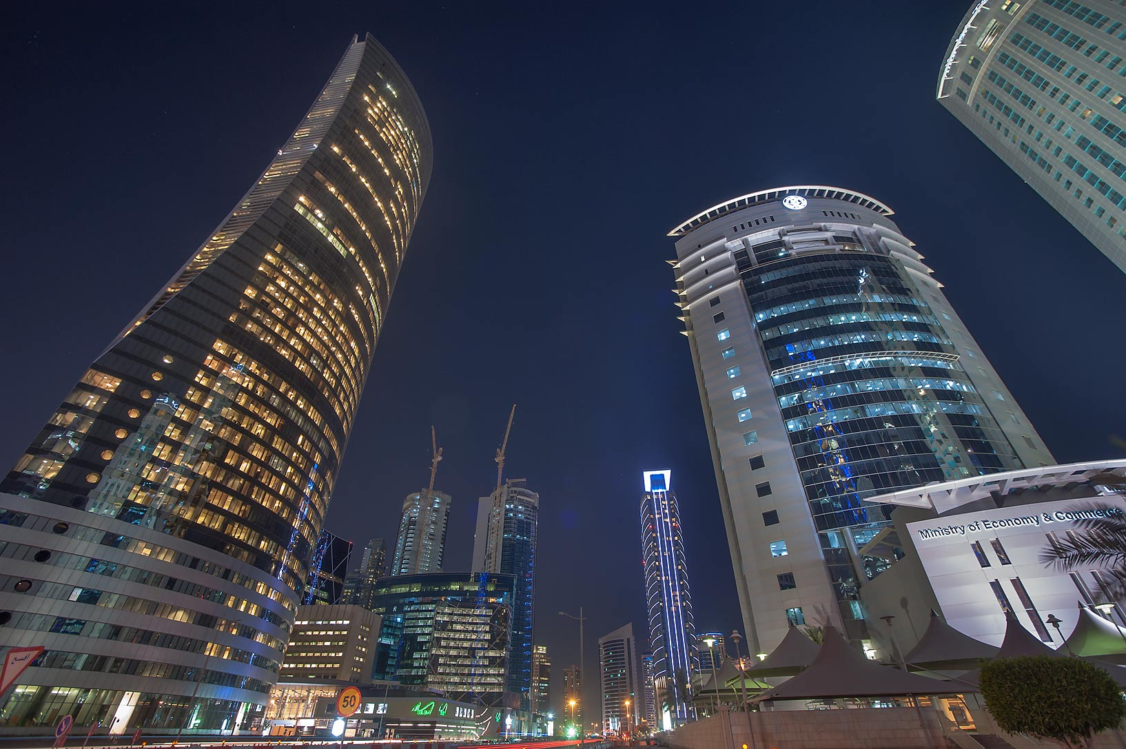 Navigation and Ministry of Commerce towers in West Bay. Doha, Qatar