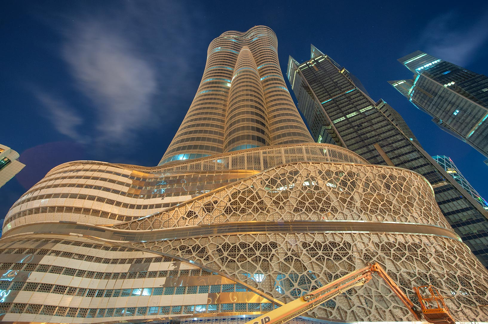 Foot of International Islamic Tower on Majlis Al Taawon St. in West Bay. Doha, Qatar