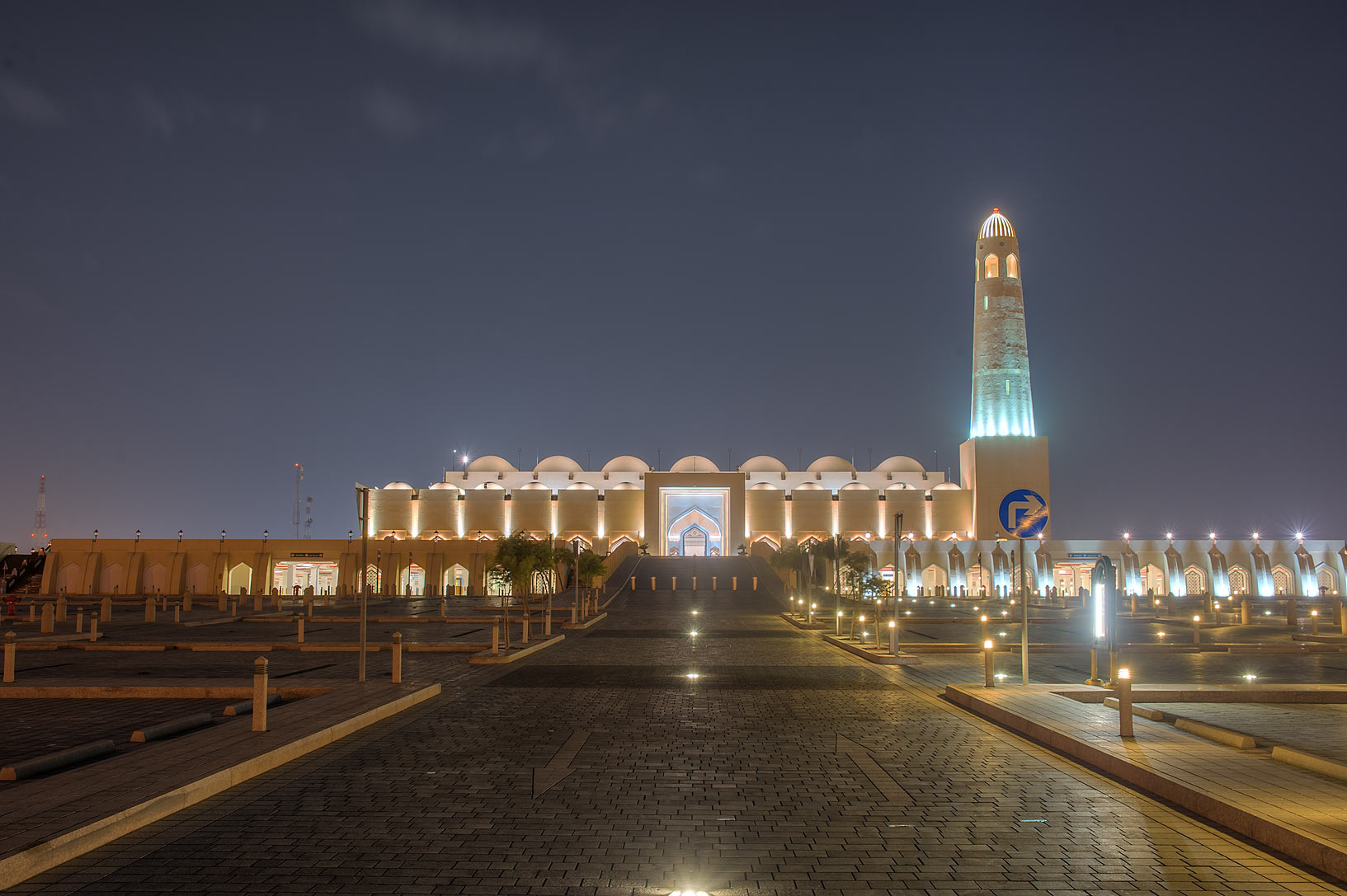 Back entrance of State Mosque (Sheikh Muhammad...view from Al Istiqlal St.. Doha, Qatar
