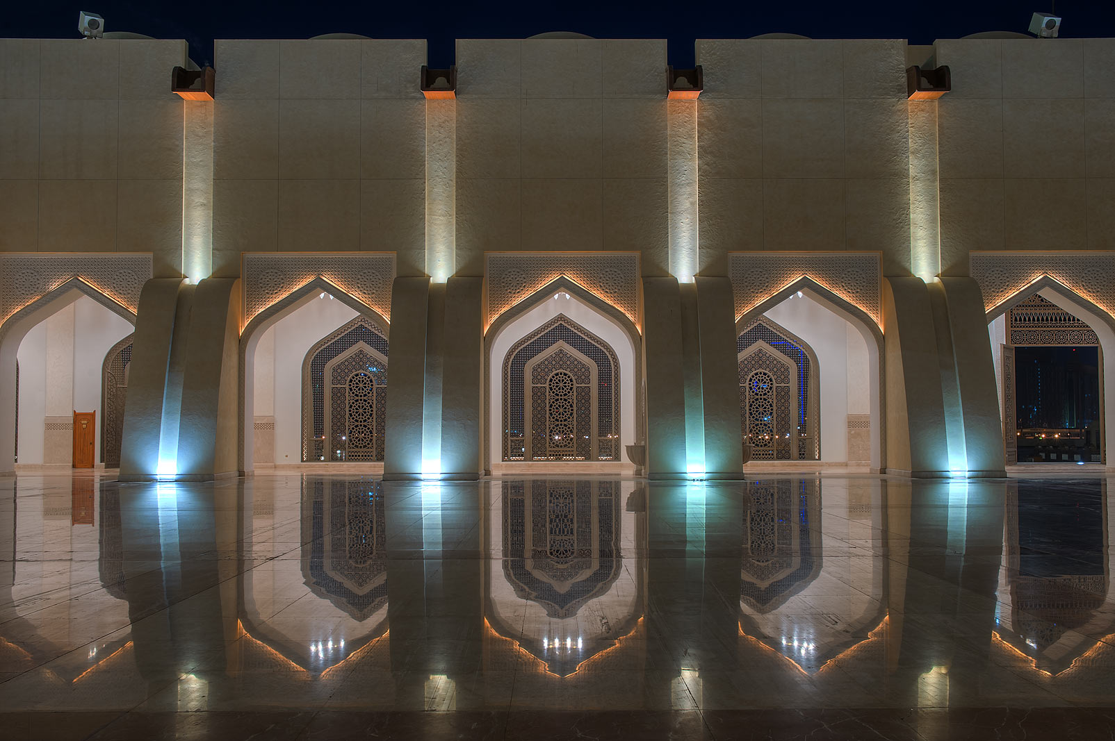Gates of a courtyard of State Mosque (Sheikh...Ibn Abdul Wahhab Mosque). Doha, Qatar