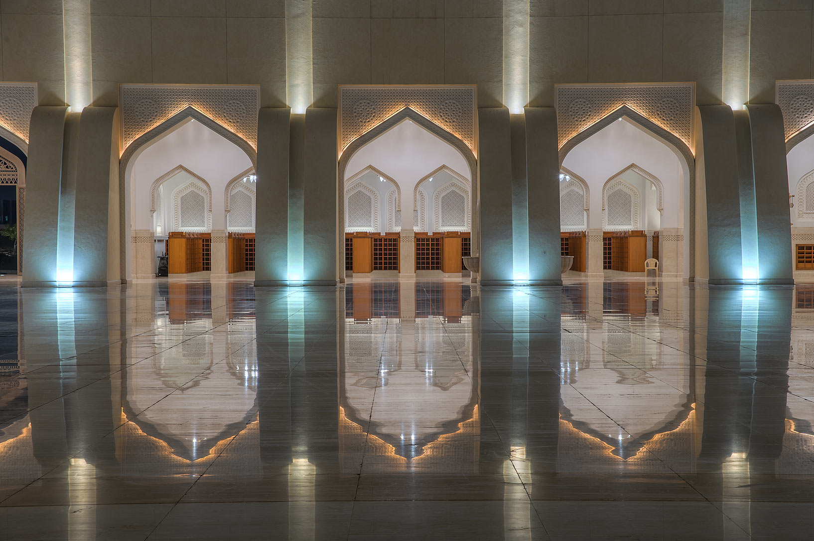 Arched gates of a courtyard of State Mosque...Ibn Abdul Wahhab Mosque). Doha, Qatar