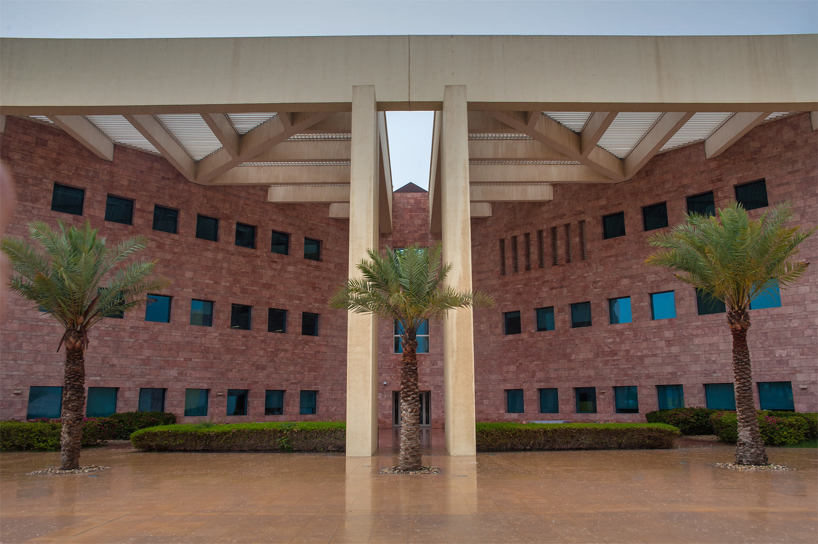 Side entrance of Texas A&M University in Education City campus. Doha, Qatar