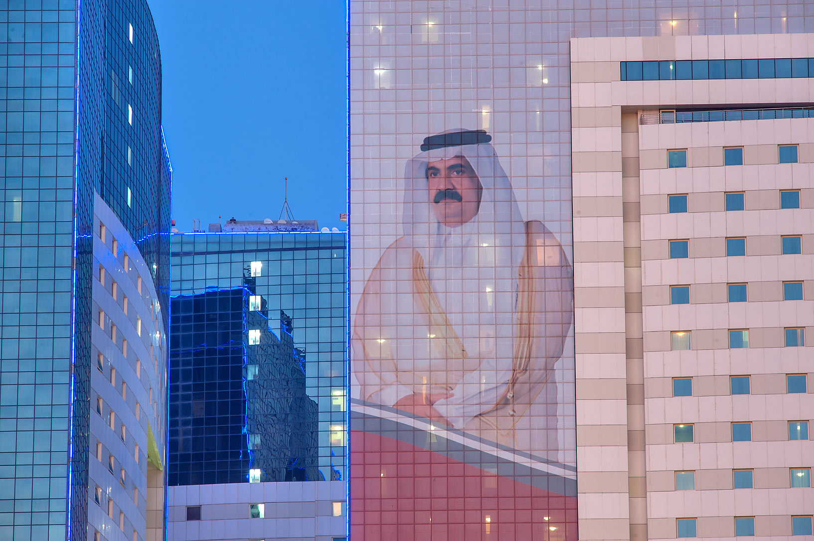 Portrait of a former Emir His Highness Sheikh...Al Adaid St. in West Bay. Doha, Qatar