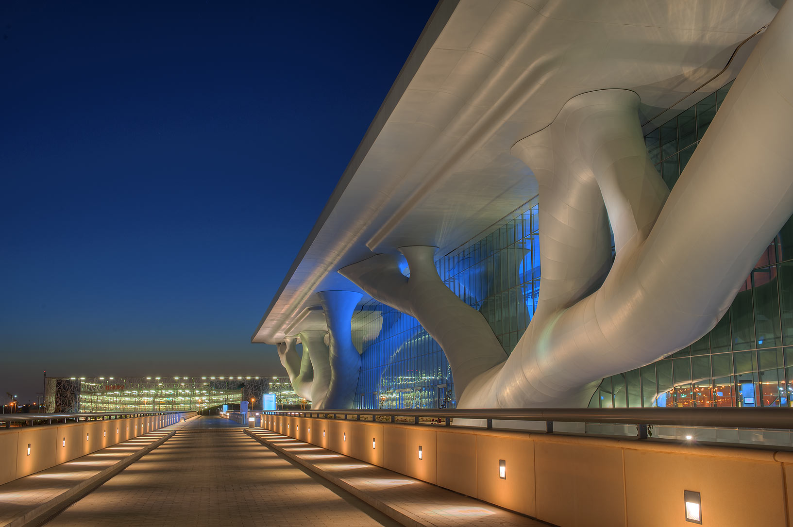 Entrance of National Convention Centre (QNCC...the roof at evening. Doha, Qatar