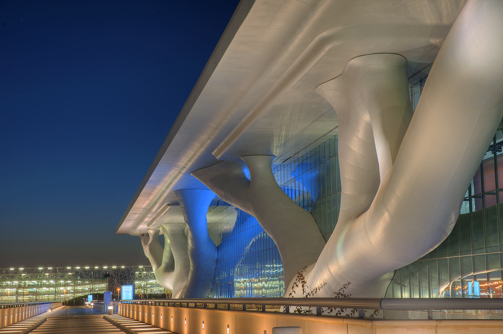 Front side of National Convention Centre (QNCC...supporting the roof. Doha, Qatar