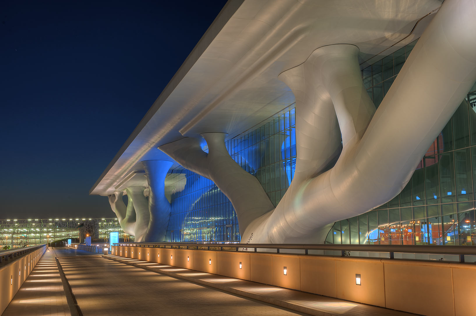 Entrance of National Convention Centre (QNCC...roof, near Dukhan Highway. Doha, Qatar