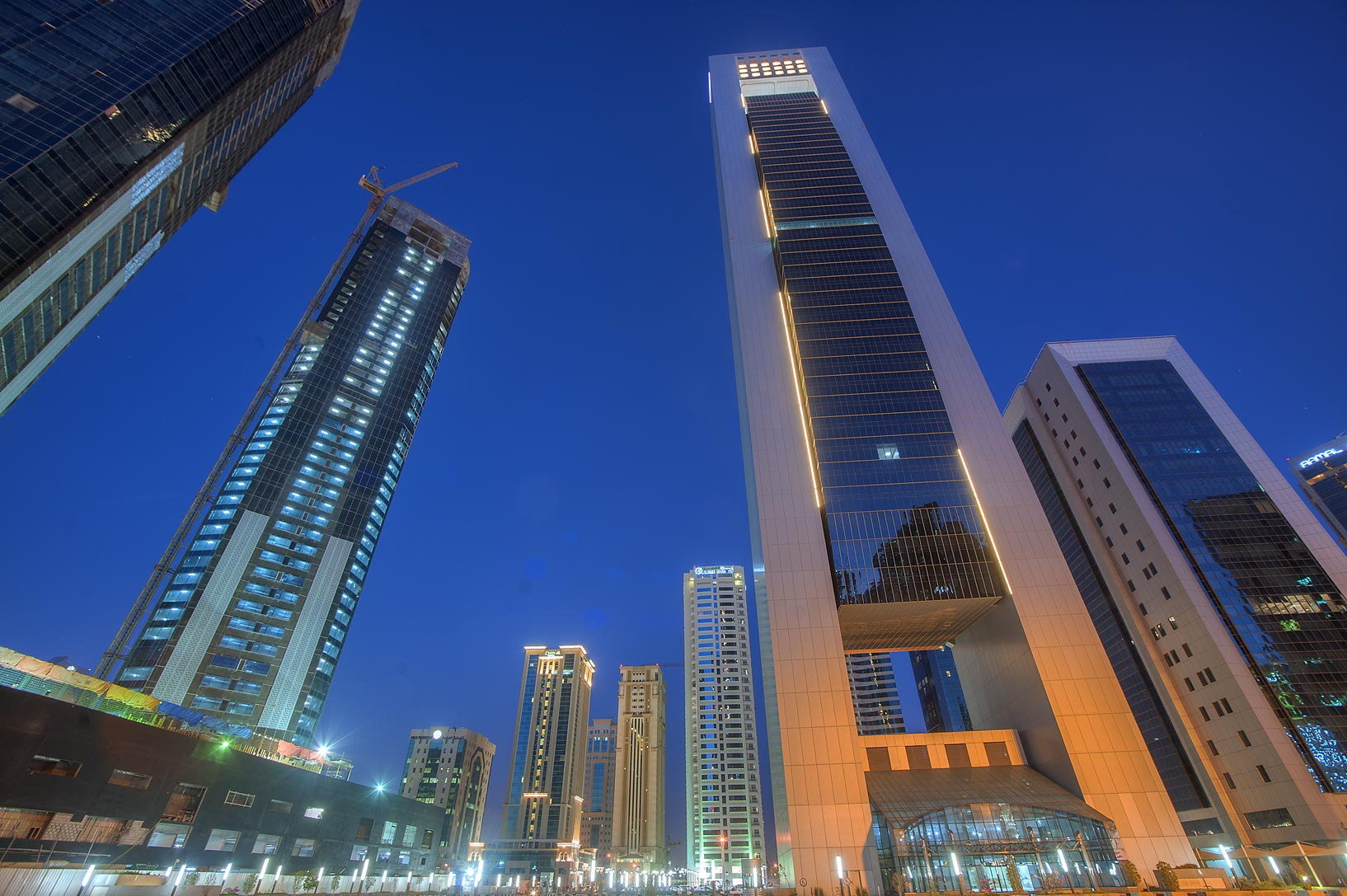 Area of Faisal Tower in West Bay at morning. Doha, Qatar