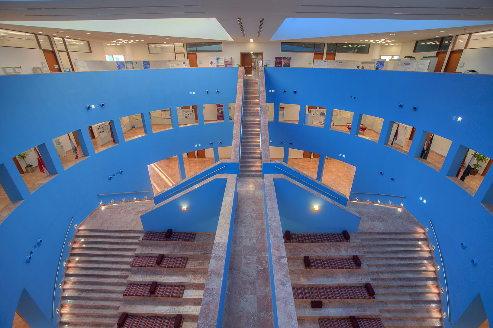 Stairs of research section (blue area) of Texas A...campus of Education City. Doha, Qatar