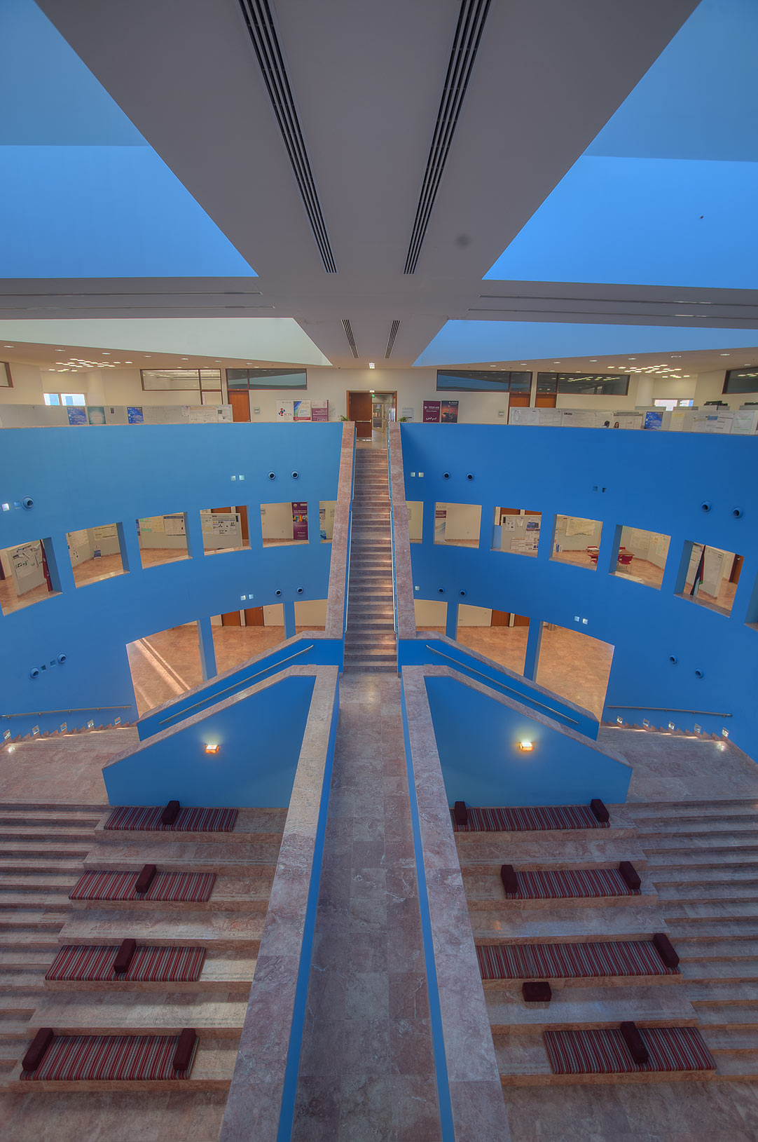 Stone stairs of research section (blue area) of...campus of Education City. Doha, Qatar