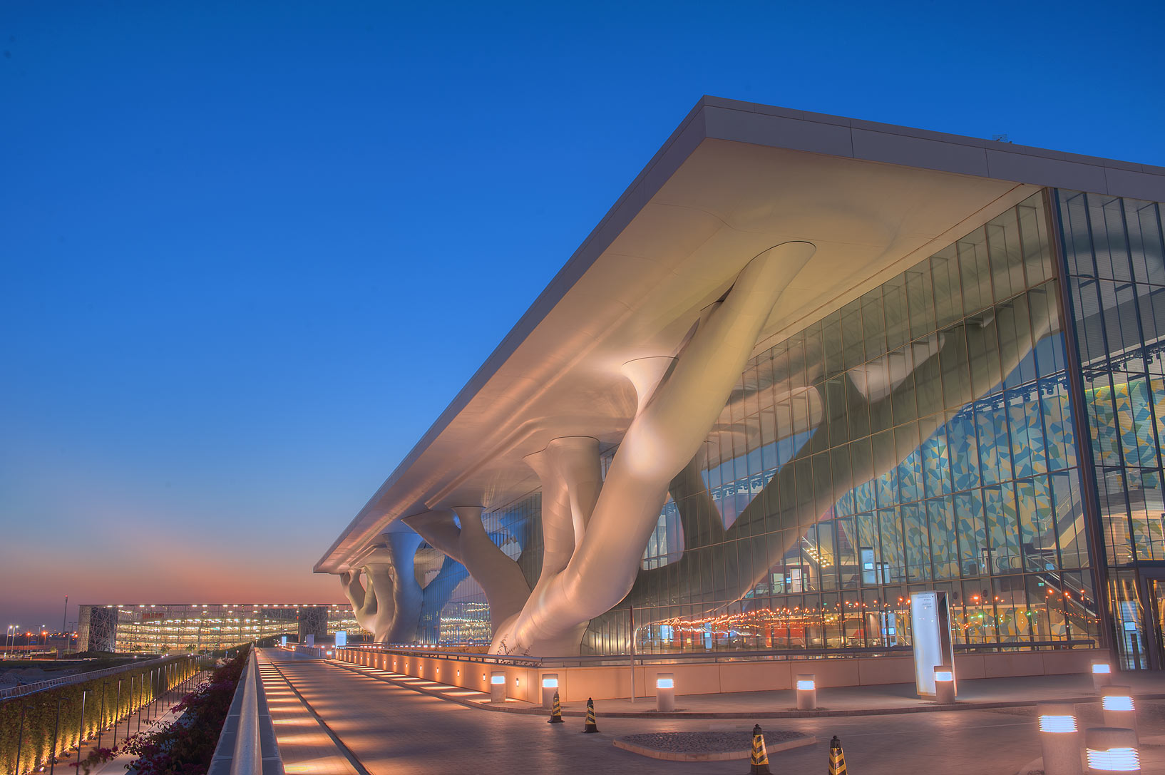 Front side of National Convention Centre (QNCC) at dusk. Doha, Qatar
