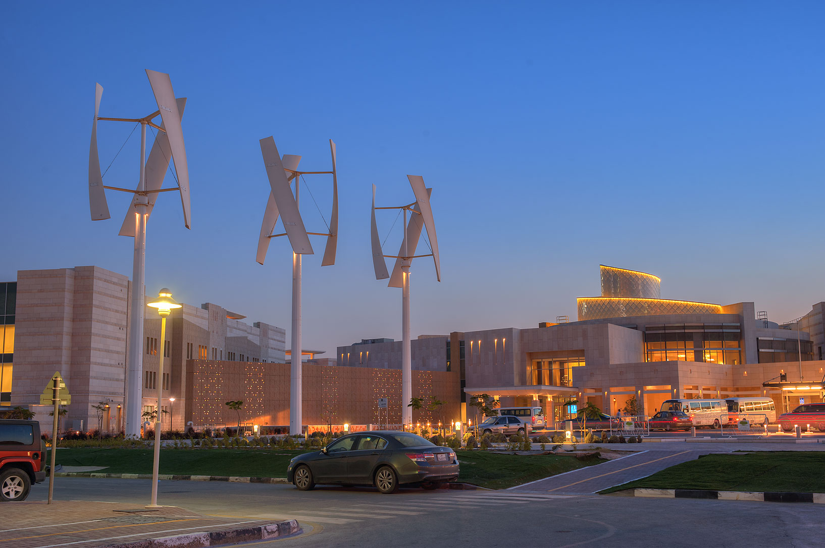 Wind turbines at entrance of new Student Center on campus of Education City. Doha, Qatar